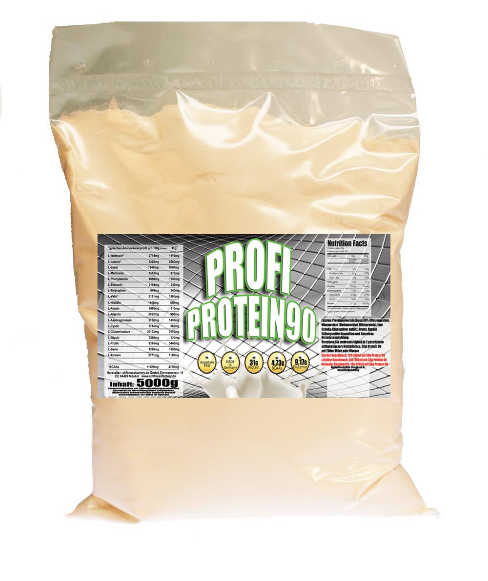 PROFI Protein 90 10kg, 2xPE-Beutel 5kg, 31g Protein p Portion, Vanille